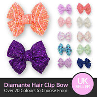 Small Crystal Bow Sparking Diamante Encrusted Hair Clip Grip Pink Red Silver +