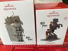 Two Harry Potter Hallmark Ornaments Gringotts Bank and A Dangerous Game New 2017