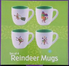Reindeer Christmas Mugs Cups Whimsical Design from Promotional Alliance Set of 4