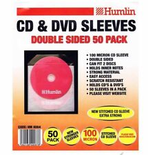 50 Humlin Double Sided CD DVD Sleeve 100 micron Holds 2 discs per sleeve HM8004