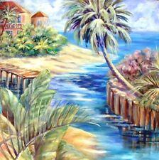 "BOCA GRANDE, FL.Orig. Acrylic Painting Canvas 44""x 44"" Artist Signed Gold Frame"
