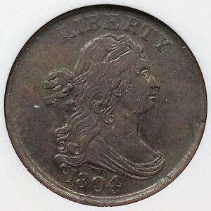 1804 C-10 ANACS AU 50 Cross 4 w/ Stems Draped Bust Half Cent Coin 1/2c