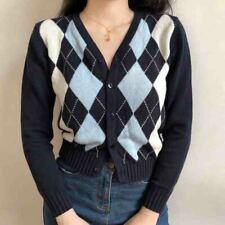 1Pcs Women Vintage Sweater Short Outwear Plaid Knitwear Long Sleeve Top Cardigan
