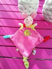 Doudou PORCINET Disney Nicotoy plat noeud rose arbre oiseau winnie NEUF NO