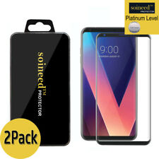 [2-Pack] SOINEED LG V30 + [3D Full Cover] Tempered Glass Screen Protector Black
