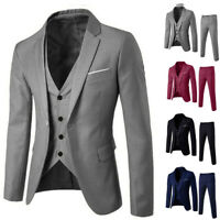 3PC Men's Slim Suit Blazer Business Wedding Party Prom Jacket Top Vest&Pants AU!