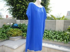 Eileen Fisher, Short Sleeve Silk Shift Dress, Sapphire Blue, Wmns Size Small