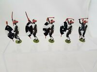 Britains VTG ZULU ATTACK SET OF 5 LEAD SOLDIER PAINTED FIGURE
