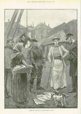 1891 - Antique Print FINE ART Cheap Lot French Fishing Village  (197)