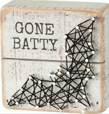 """Primitives by Kathy Halloween """" GONE BATTY """" Sign String Art Sign 4"""" x 4"""""""