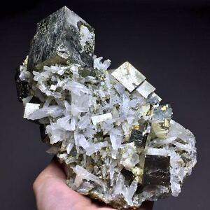 1328g Natural Rare Shiny Golden Cube Pyrite Based on the White Quartz Cluster