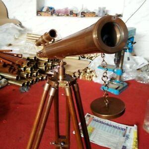 "18"" Brass Antique U.S Navy Marine Nautical Telescope W/ Wooden Tripod Stand Gift"