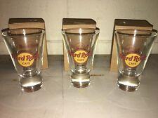 "New Set Of 3 Hard Rock Cafe Tampa Dessert Shot Glasses 4"" Hrc Red Circle Logo"