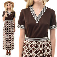 Vtg 60s 70s Op Art CHEVRON Striped Houndstooth Space Age Geometric Maxi Dress M