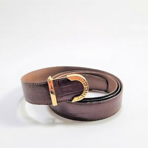Givenchy Gentlemen Brown Belt Gold Colour Buckle Made In France Size 38 Free P&P