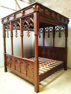 Gothic 6' Super King Size Carved Ecclesiastic Four Poster Bed Solid Mahogany New