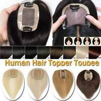 Natural Hairline Clip in 100% Remy Human Hair MONO Topper Hairpiece THICK US M5