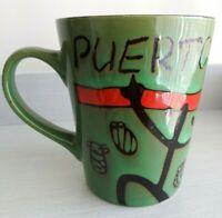 """PUERTO RICO"" Coffee Mug Cup Collectible Green Coqui Taino"