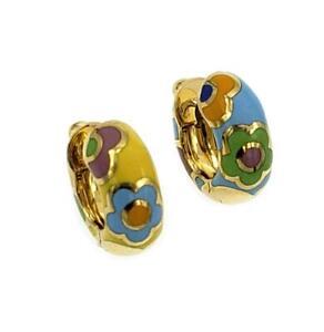 Pasquale Bruni Multi-Color Enamel 18k Yellow Gold Floral Huggie Earrings