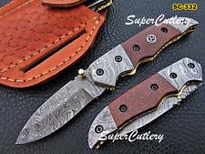 Custom Handmade Damascus Folding Knife Damascus Bolster Micarta , Mosaic Handle