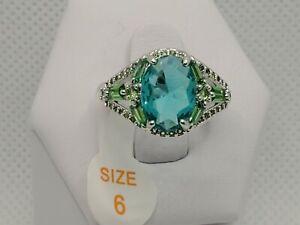 Ring Bomb Party SZ6 Aqua Blue Topaz & Emerald RBP2165 oval GOT New w/tag & bag!