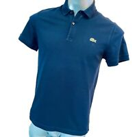 Lacoste L!VE Mens Polo T Shirt Size 4 M Medium Navy Blue Devanlay Cotton Tee Top