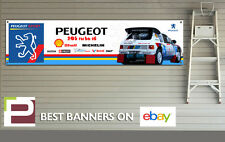 Peugeot 205 Turbo 16 Garage XL Banner for Workshop, Garage, Retro, Rally Team