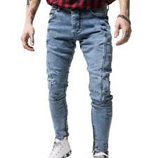 Mens Skinny Denim Jeans Pants Zip Casual Stretch Pockets Long Pencil Trousers