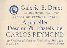 Carlos REYMOND carte exposition 1922 galerie Druet liste oeuvres