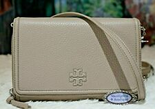 Authentic Tory Burch 55374 Leather Thea Flat Wallet Crossbody Purse Grey