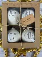 Rae Dunn Magenta Christmas 4 pack Ornaments Joy Peace Love Cheer