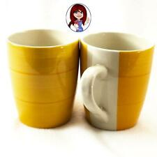 New ListingRoyal Norfolk 2-Piece Set Two Tone Yellow Striped Mugs Cups Very Nice!