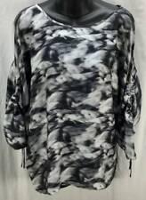 Michael Kors Blouse Top Black Small 3/4 Sleeve Scoop Gather Tie Sleeves 2086