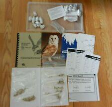 Owl pellets, rodent bones, books, booklets, bone charts, magnifying glass