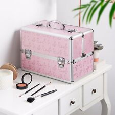 Beautify Large Pink Butterfly Train Case Cosmetic Organizer Makeup Storage Box
