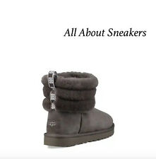 """UGG FLUFF MINI QUILTED LOGO BOOT """"CHARCOAL"""" Women's Limited Stock All Sizes"""