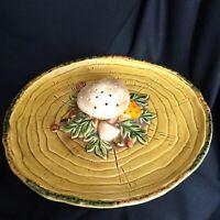 Vintage Mushroom Platter Geo Z Lefton Japan 1970 Gold Mustard Yellow Ceramic