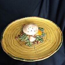Vintage Mushroom Platter Geo Z Lefton Japan 1970 Gold Mustard Yellow Ceramic