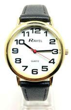 Ravel Men's Big Face Easy Read Big Numbers Black Strap Quartz Watch Leather