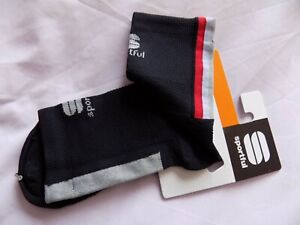 Sportful Mens Bodyfit Pro 9 Cycling Socks - Black, Red - Size S - One Pair
