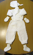 Baby White 2 piece Pram Suit hand knitted with james brett 0 - 3 months