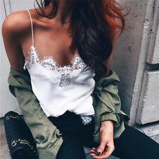 Women Summer Vest  Tank Tops Crop Sleeveless T Shirt Blouse Casual Cami White