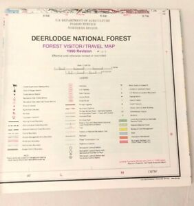USDA Deerlodge National Forest Visitor Travel Map Montana 1990 Revision