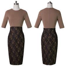 Women's Lace Patchwork Business Cocktail Evening Bodycon Pencil Dress 100b