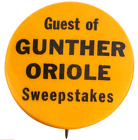 """1950's Baltimore Orioles PIN Pinback Guest of Gunther Beer Oriole  1 1/4"""" Dia"""
