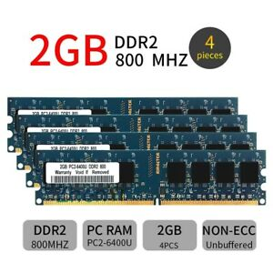 8GB 4x 2GB DDR2 PC2-6400U 800MHz CL6 240Pin Intel DIMM Desktop Memory RAM Blue