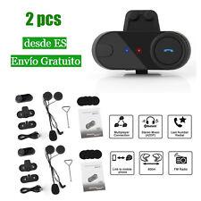 2X 800m Bluetooth Intercomunicador Receptor de Auriculares Moto Casco GPS FM