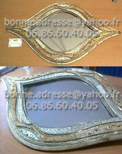 """Miroir Oriental Artisanal Nacre Cuivre Sculpté """"Regard de Nefertiti"""""""