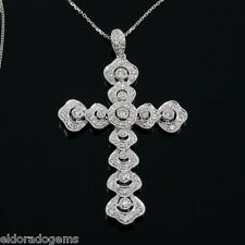 NECKLACE - LARGE 2.00 CT. SI1-G DIAMOND CROSS PENDANT 14K WHITE GOLD 18""