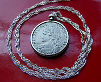 "Antique French Parisian Maiden Coin Pendant on a 30"" .925 Silver Wavy Chain"